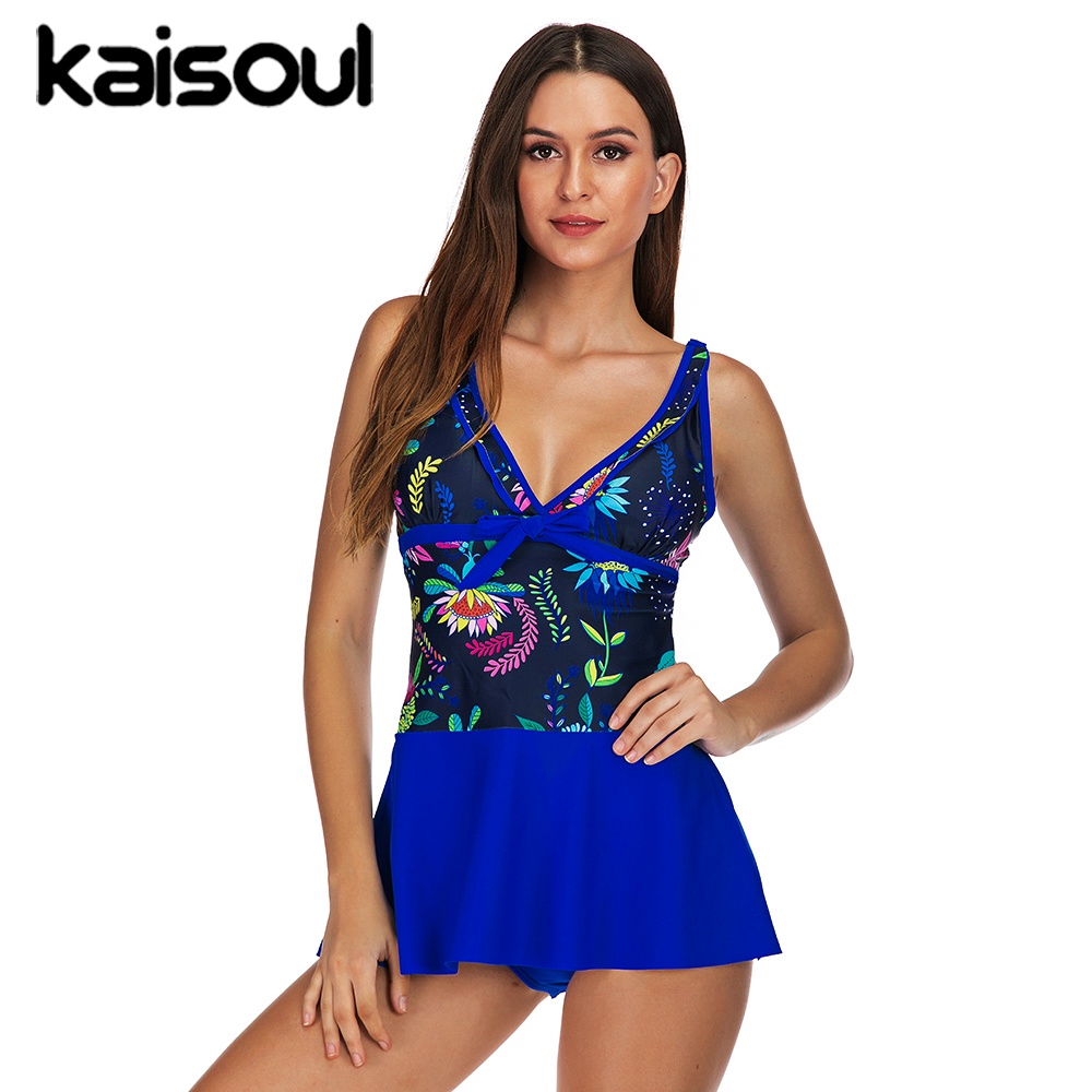 Blue Floral Sexy Bikini Swimwear Two Pieces Women Swimsuit Plus Size Push Up Print Swimming Beachwear New Arrival Vintage Padded