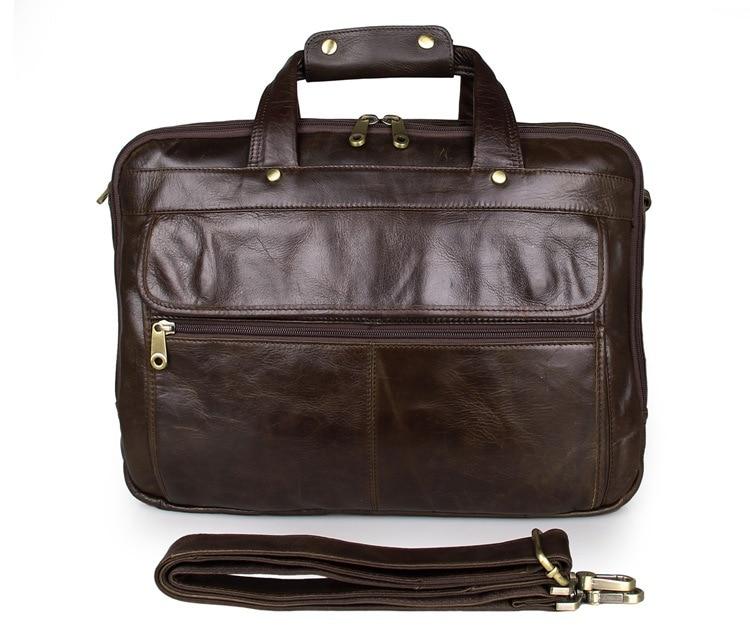 Vintage Casual Tote men s bag Genuine leather business briefcase Multifunction bag design handbag 15 6inch