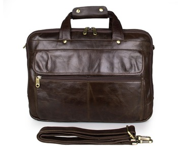 Vintage Casual Tote men's bag Genuine leather  business briefcase Multifunction bag design handbag 15.6inch lapot Messenger bag Briefcases
