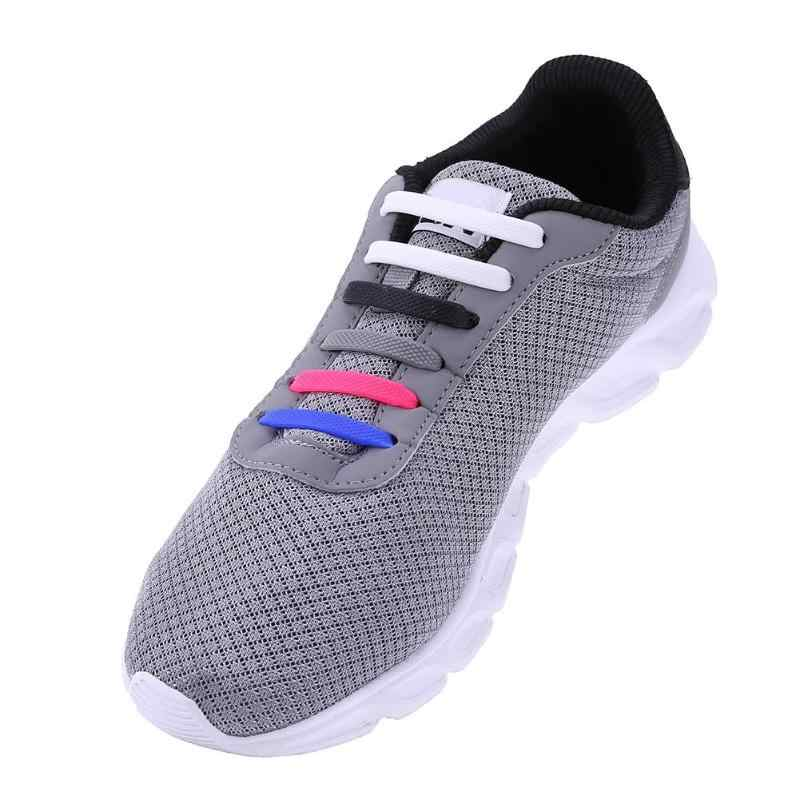 8 pares/set Crianças Cadarços Elásticos de Silicone Multifuncional Sapato String Cor Sólida Correndo Sem Gravata Cadarço para Crianças Adultos