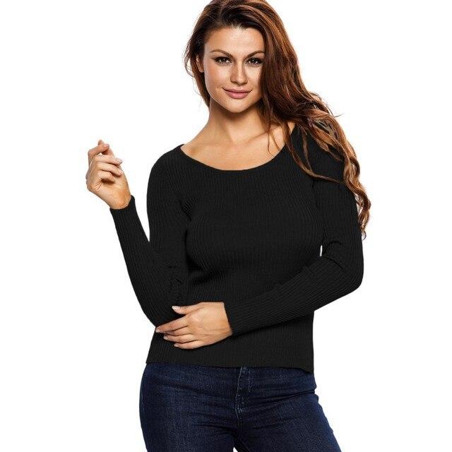 2017 Серый черный белый свитер вязаный топ ткань зашнуровать вернуться сексуальная ночь носить одежду с длинным рукавом повседневная топы пуловер A27628