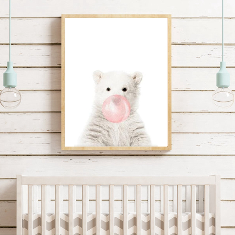 Cute Animal Canvas Art Poster Kids Room Decor