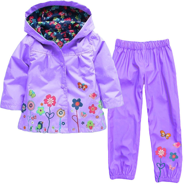 Girls Clothing Raincoat Sets Autumn Baby Casual Hoodie Jackets Pants Kids Spring Sport Suit Children Waterproof Coat Outfit 5