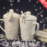 Christmas Mugs 3D Amimal Couples Cups With Lid Cute Milu Deer Coffee Cup Milk Cups Snow