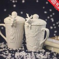 Christmas Mugs 3D Amimal Couples Cups With Lid Cute Milu Deer Coffee Cup Milk Cups Snow
