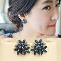 Moda 3 flor azul verde brincos de cristal para mulheres E-487