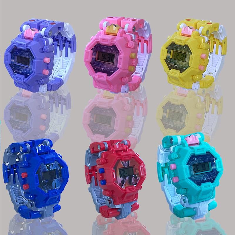 Children's Robot Deformation Wristwatch Trasformation Boy Girl Digital Multifunction Cartoon Puzzle Kids Toy Electronic Watch