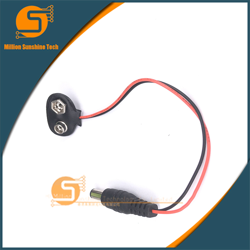 Free Shipping 10PCS/lot 9V Battery Buckle Connector Type-T With 5.5*2.1mm DC Plug 15CM Wire Lead Soft Shell Battery Lock