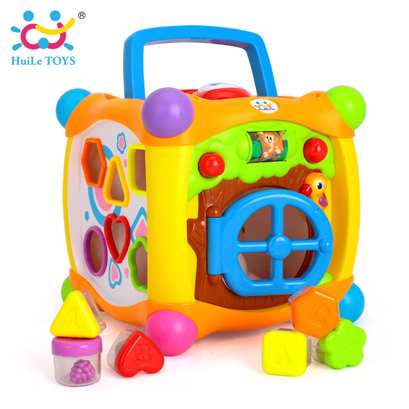 HUILE TOYS 936 Kids Activity Alphabet Cube Baby Play Toy 13 Stackable Blocks Learning Baby Infant Toddler Music Game Toys Gifts huile toys 3108 baby toys traveling picnic cooking suitcase toy included stove utensils plates toy meal bacon and eggs