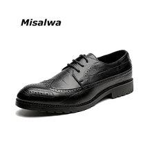Misalwa Для мужчин; торжественное платье Обувь с перфорацией типа «броги» чёрный; коричневый серый желтый из натуральной кожи Повседневное стильные босоножки дышащие свадебные туфли