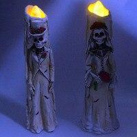 1 Pair Bar Candle Light Retro Props Party Halloween Decoration KTV Table Decoration Bride Groom Shape Candle Strange Light