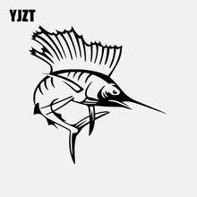 Yjzt 13.9cm * 14cm sailfish vinil decalque etiqueta do carro peixe decoração preto/prata C24-0479