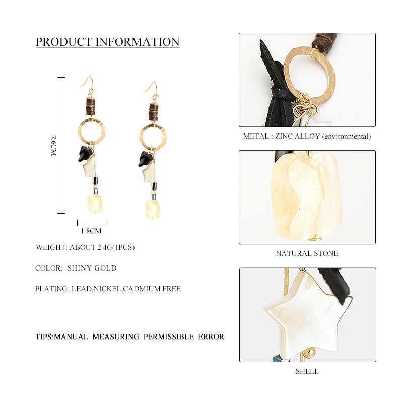 WILD & GRATIS Kvinnor Natural Stone Drop Earrings Gold Star Shell - Märkessmycken - Foto 2