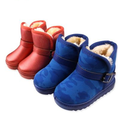 2017 Winter Kids Snow Boots Fashion Girls and Boys PU Leather Waterproof Rubber Sole Outdoor Shoes Children Plush Warm Boots high quality kids boots girls boots fashion leather snow boots girls warm cotton waterproof girls winter boots kids shoes girls