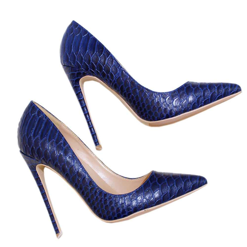 c469b967ae Veowalk Sexy Women Snake Skin Embossed High Heel Shoes Italian Style Navy  Blue Fashion Ladies Extremely