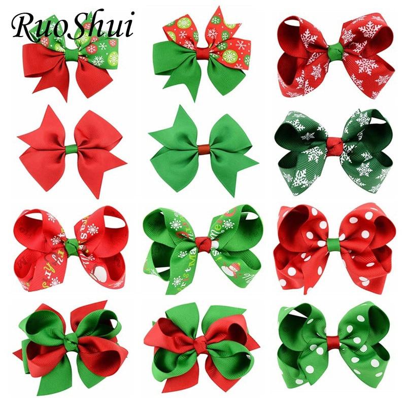 3.1Inch 12 Styles Girls Christmas Hair Bows With Clips Grosgrain Ribbon   Headwear   Handmade Bowknot Hair Accessories For Christmas