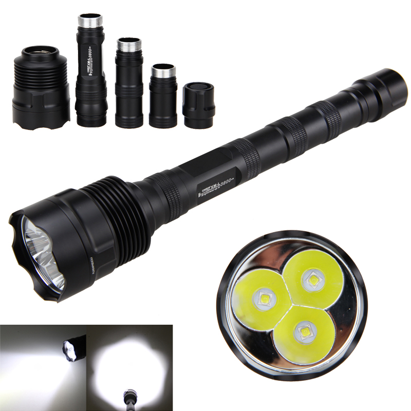 Aluminum 3800lm Tactical Flashlight TR-3L2 LED Hunting Torch 1 Memory Mode Switch on Tailcap Lantern ...