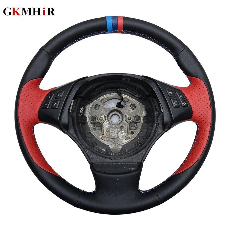 GKMHiR DIY Hand Stitched Black Genuine Leather Car Steering Wheel Cover for BMW E90 E46 E39 330i 540i 525i 530i E53
