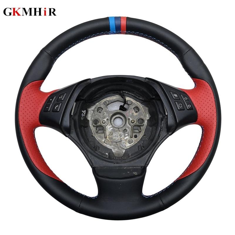 GKMHiR bricolage Main-Cousu cuir véritable noir volant de voiture couvercle pour bmw E90 E46 E39 330i 540i 525i 530i E53