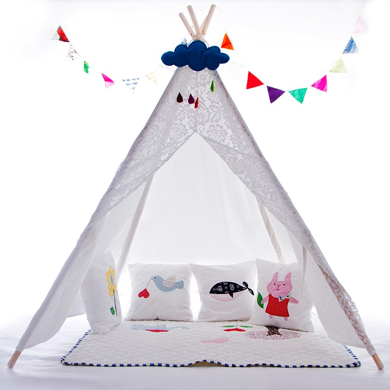 White Lace Teepee Girls Tipi Tent Teepee Tent for Girls Indian Playhouse Wigwam Tent red chevron canvas dog tent house pet teepee tipi dog tee pee cat teepee