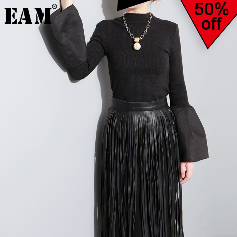 [EAM] 2019 New Spring Summer Round Neck Half Sleeve Black Striped Printed Loose Big Size T-shirt Women Fashion Tide JR363