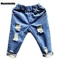 De los niños Pantalones de Algodón de Mezclilla Chicos de Moda Los Pantalones Vaqueros Rasgados Chicas Casual SC777 1-7Y Niños Jeans Bebé Embroma La Ropa de Moda