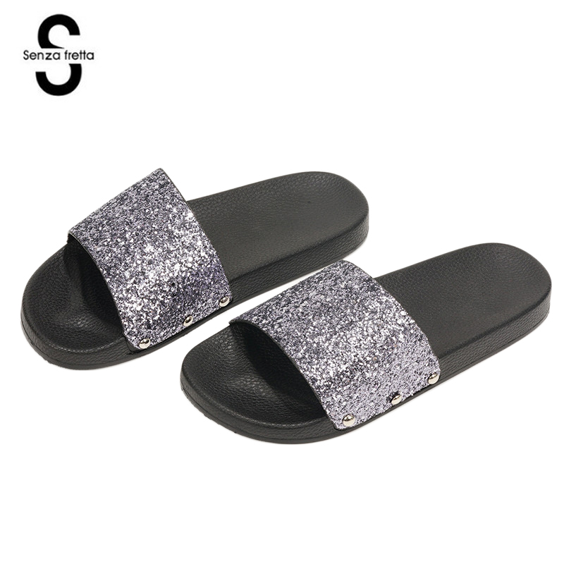 Senza Fretta Women Slippers Flip Flops Peep Toe Sandals Glitter Slippers Sandals Platform Comfortable Summer Slippers Women цена