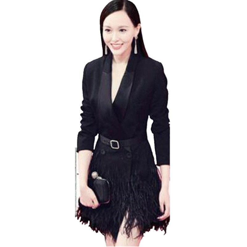 New Notched Long Sleeves Sashes Feather Tassel Blazers Coat 2017 Autumn Mulheres Slim Fashion Double Breasted