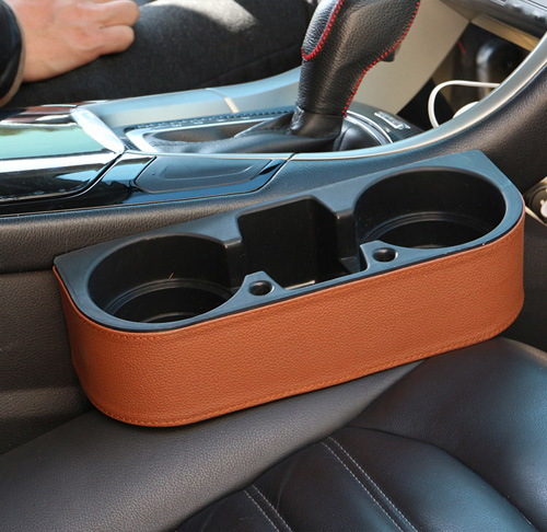 Auto Truck Car Seat Drink PU Leather Cup Holder Valet Beverage Can Bottle Food Mount Stand