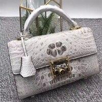 Роскошные дизайнерские натуральной кожи аллигатора Для женщин маленький белый кошелек сумочка из кожи крокодила девушки Женский металлич