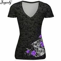 Joyonly Women Skull T Shirts Pink Rose Hourglass Brand Design T Shirts 2017 Summer Femme Short