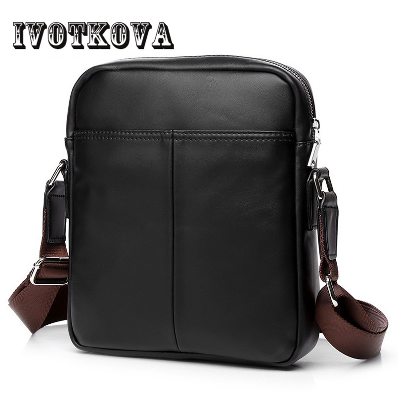 IVOTKOVA New Men Messenger Bag European and American PU Leather Zipper Shoulder Bags Fashion Casual Crossbody Purse For Men european and american fashion black leather zipper man bag design famous manberce brand male shoulder messenger bags