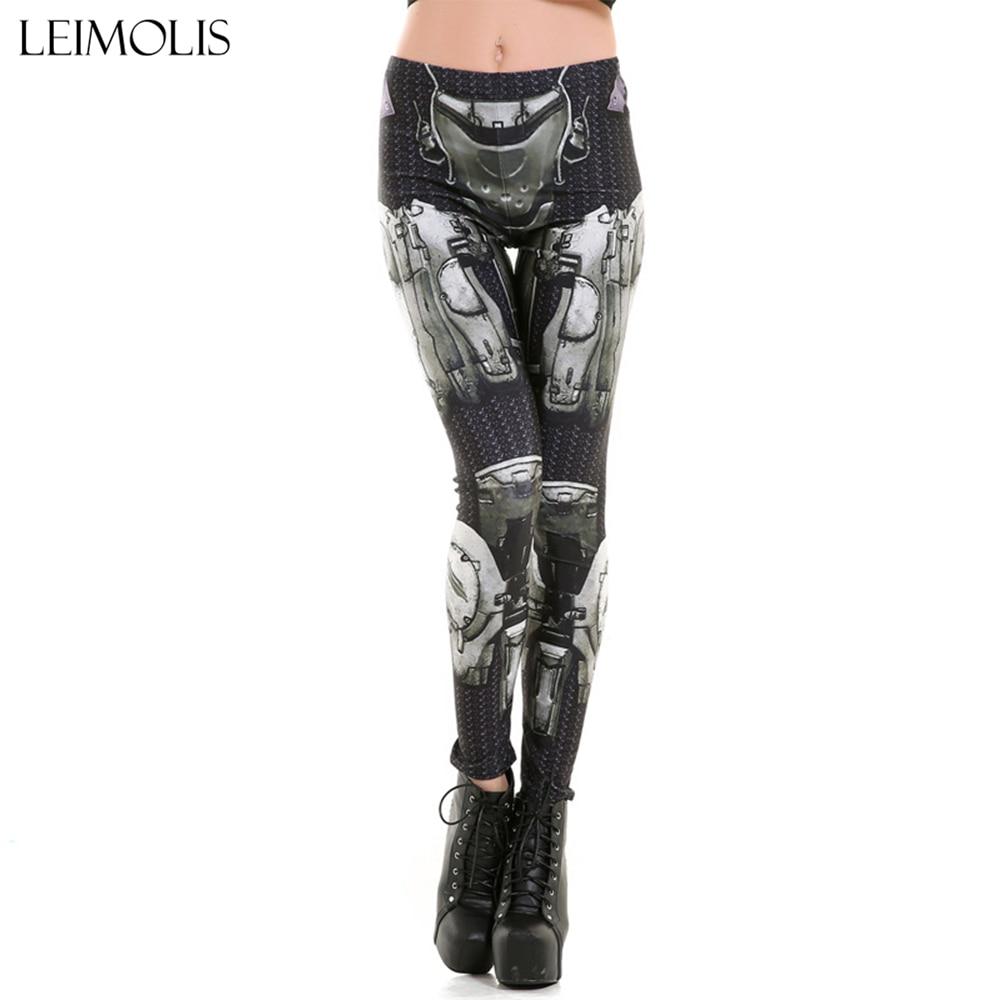 Leimolis High Waist Punk Rock Harajuku Workout Push Up Fitness Sexy 3d Print Gothic Robot Armour Women Plus Size Leggings