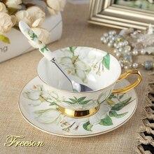 Elegant Camellia Bone China Tea Cup Saucer Spoon Set 200ml Pastoral Advanced Porcelain Coffee Cup Teatime Ceramic Teacup