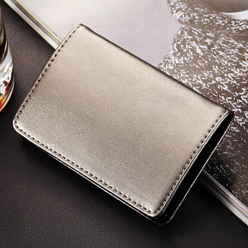 Купить с кэшбэком QOONG Fashion Men Women Genuine Leather Stainless Steel Hasp Business Name ID Credit Card Holder Case Large Capacity KH1-015