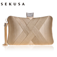 SEKUSA Tassel Fashion Ladies Day Clutch Bag Small Shoulder Handbags Female Party Wedding Evening Bag For