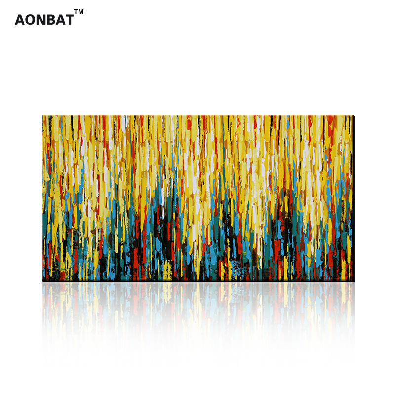 100% Hand painted Oil Painting of Colorful Light Design on Canvas ...