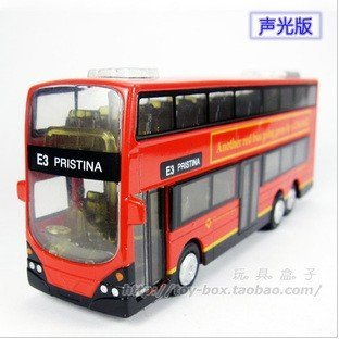 London ring  double-decker bus sound and light pull back alloy car mini model toys kids educational toys gift + free shipping