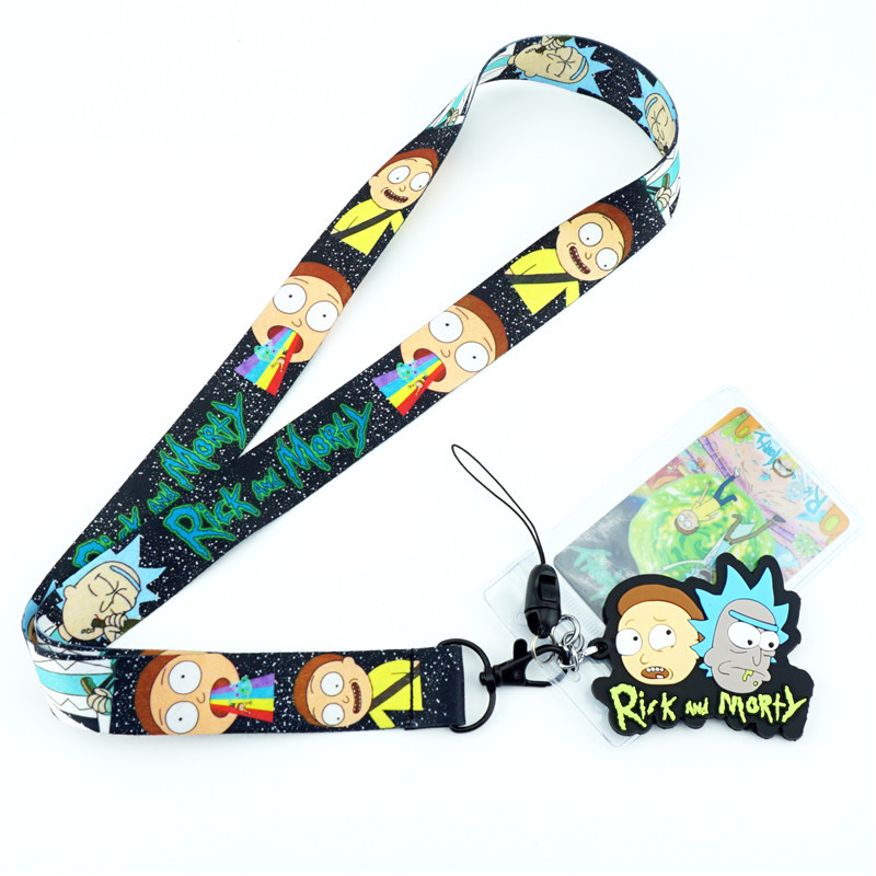 Cartoon Anime Rick and Morty Figure Cell Phone Neck Strap Lanyards Key Chain cute ID Badge Key rings Cosplay Accessories Gift