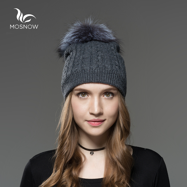 f9210b15fb1 Mosnow 2016 New Wool Silver Fox Fur Pom Poms Winter Hats For Women Knitted  Casual Vogue