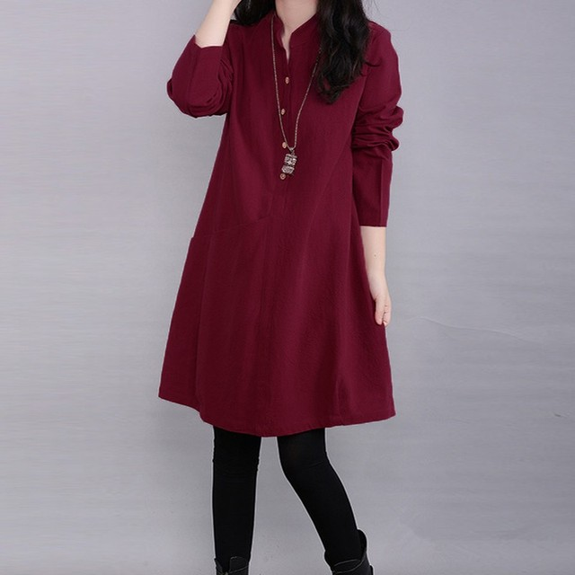 321eacbc8ae8 Fashion Autumn Dress 2018 Elegant Women Casual Loose Long Sleeve Linen  Shirt Dresses Solid Pocket Vestidos Plus Size 3 Colors