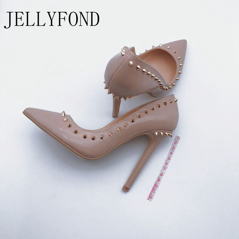JELLYFOND Nude <font><b>12cm</b></font> <font><b>Sexy</b></font> <font><b>High</b></font> <font><b>Heels</b></font> Stilettos Pumps Genuine Leather Pointed Toe Rivet <font><b>High</b></font> <font><b>Heel</b></font> Bridal Wedding Party Dress Shoes image