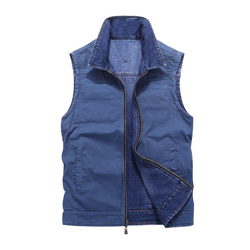 2018 M-4XL Denim Veste débardeur gilet marque vêtements vestes réversibles deux côté porter militaire Veste sans manches Denim Veste