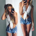 Women Crop Top 2016 hot sale new arrival lacing V-neck bow sleeveless Tank Vest white Sexy Tops Woman Clothing free shipping