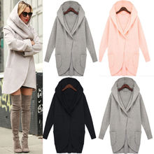 large size women long coat autumn and winter sleeve fashion loose woolen with pockets Long female hood S-5XL