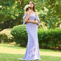 DressV фиолетовое длинное платье подружки невесты без бретелек Русалка Рубашка с короткими рукавами и пуговицы Кружево пользовательские Наря