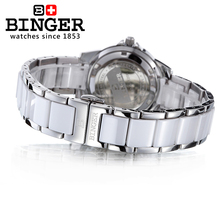 Switzerland Binger ceramic Women's watches fashion luxury watch quartz clock Round rhinestone Wristwatches B-1120L-3