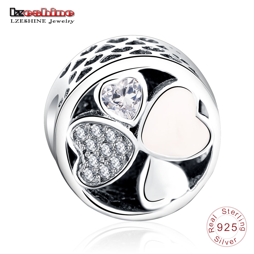 LZESHINE Authentic 925 Sterling Silver Heart Loving Beads Fit Original Charm Bracelet Jewelry Gift For Valentines Day PSMB0764