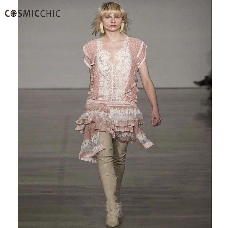 Cosmicchic Haute Couture Lace V Neck Irregular Mini Dress Polka Dots Pleated Dress Silk Elegant Party Dresses Vestidos LY220