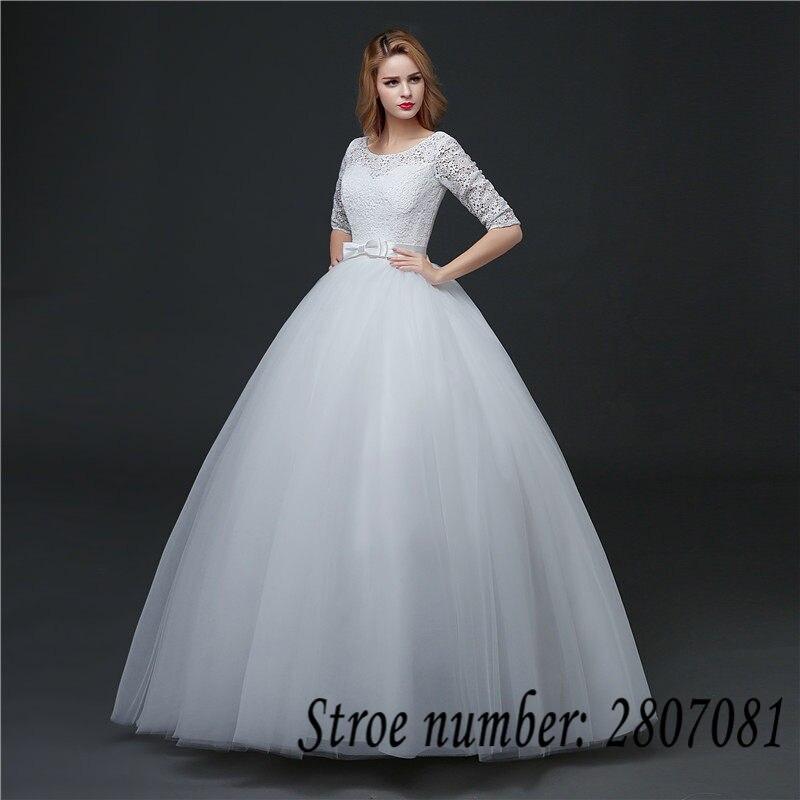 Lace Half Sleeve O Neck Princess Wedding Dresses 2017 Bow Waist ...